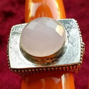 Fasceted rose quartz huge block ring